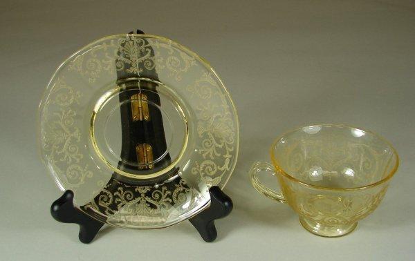 16B: 12 Yellow Fostoria Versailles Cups & Saucers - 2