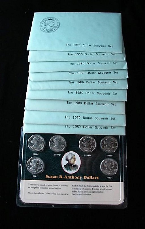 Nine 1980 Three Coin Susan B Anthony Souvenir Coin Sets