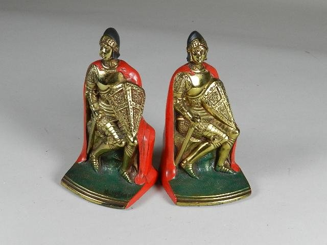 Pair of Vintage Bookends of Knights