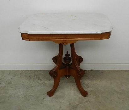 Victorian Walnut Marble Top Parlor Table