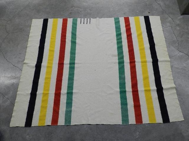 Mid 20th Century Hudson Bay 4 Point Wool Blanket