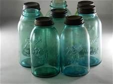 9 Half Gallon Ball Blue Jars