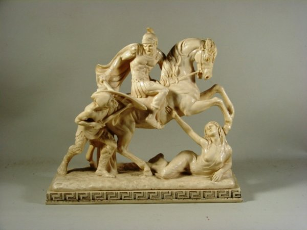 18: Cast Resin Statue of Roman Soldier on Horseback