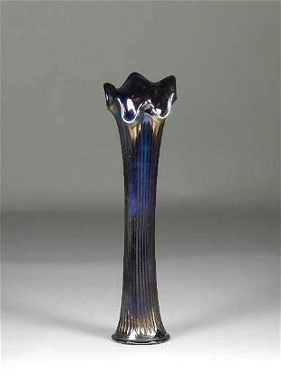 Fenton Ribbed Carnival Glass Vase