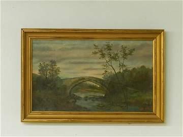 Late 1800s Oil Painting of Stone Bridge