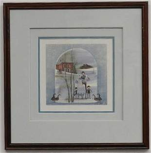 P. Buckley Moss Framed Print, Amish Family