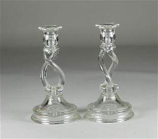 Pair of US Glass Candlesticks