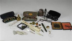 Group of Vintage Eyeglasses, Quill, Wax Stamp,