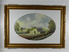 Oil on Canvas of Barns