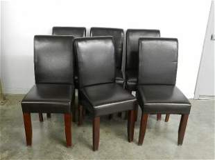 Set of 6 Leather Upholstered Dining Chairs