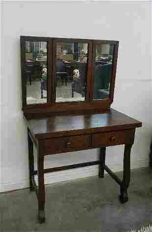 Antique Oak Vanity with Triple Mirror