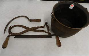 Early Cast Iron Kettle and Tools