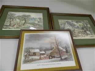 2 Currier & Ives Prints, etc.