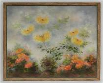 Large Oil on Canvas of Flowers by Shirley Fleming