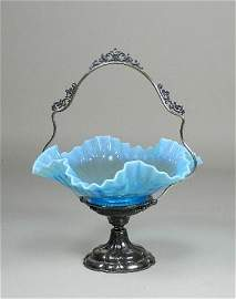 Blue Opalescent Brides Basket