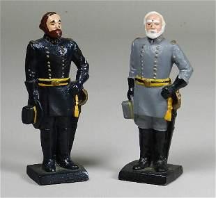 Robert E. Lee and Stonewall Jackson Cast Iron Figurines
