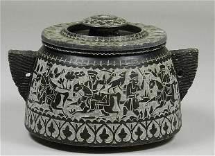 Carved Stone Lidded Pot