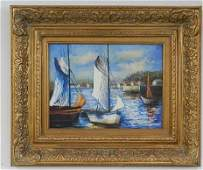 Oil on Canvas of Sail Boats in Small Harbor