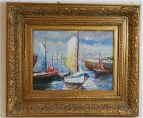 Decorative Oil on Canvas of Sail Boats in Harbor