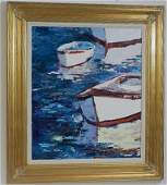 """Oil on Canvas by Rome Milan titled """"Shallow Mooring"""""""