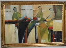 Oil on Canvas of People at Table