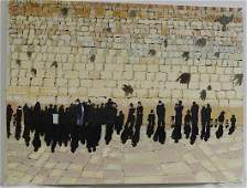 Oil on Canvas of Jewish Pilgrims at the Western Wall