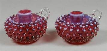 Pair of Fenton Mulberry Opalescent Candlesticks