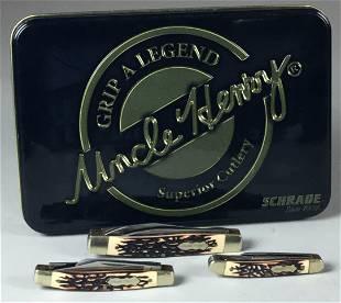 3 Schrade Uncle Hendry Pocket Knives