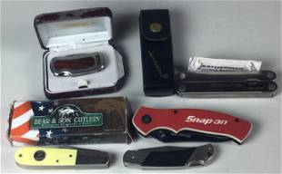 Group of 5 Knives: Snap On, Leatherman Bear & Son, Etc