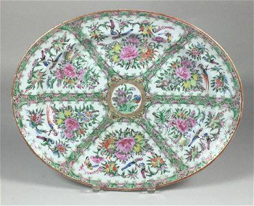 Large Chinese Famille Rose Medallion Style Oval Platter