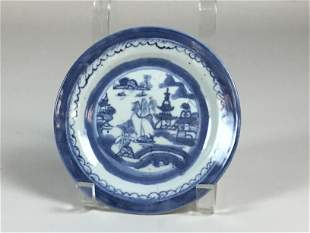 Chinese Export Canton Blue & White Porcelain Plate