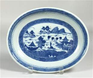 Chinese Export Canton Oval Bowl