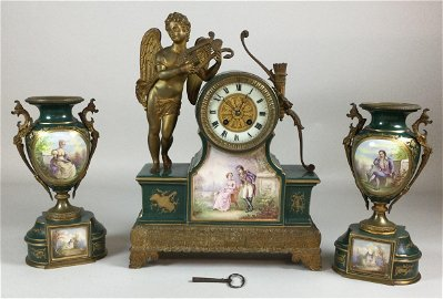 Japy Freres et Cie Mantel Clock & Garniture Set