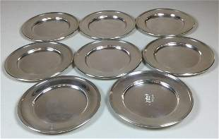 """Eight 6"""" Sterling Plates"""