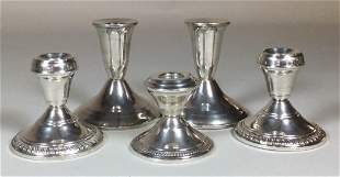 2 Pairs and 1 Single Weighted Sterling Candlesticks