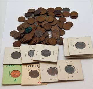 Group of Wheat Cents