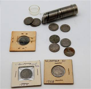Roll of Buffalo Nickels plus extras & an 1883 No Cents