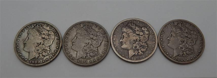 1883O, 1897O, 1900O, 1901O Morgan Dollars