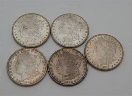 1885, 1886, 1888, 1890 x 2 Morgan Dollars