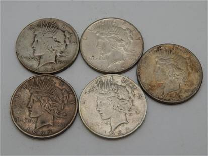 5 Mixed Date Peace Dollars