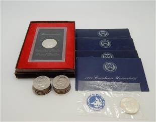 Four 1971 Silver Uncirculated Ike Dollars, 1971 Silver