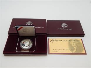 1993 Thomas Jefferson 250th Anniversary Proof Silver