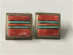 V. Benally Sterling Turquoise & Coral Earrings