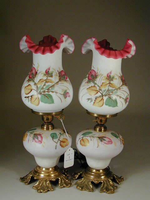 1: Pair of Cased Glass Lamps