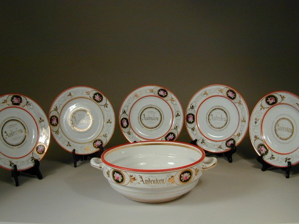 """3: Unmarked Handled Bowl and Five 9"""" Plates"""