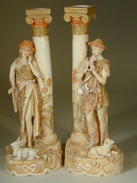 7: Figural Royal Dux Candlesticks
