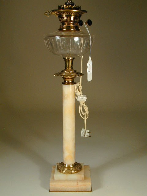 11: Converted Marble and Glass Oil Lamp