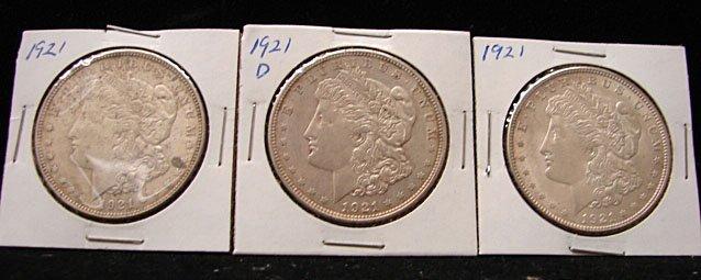 Three 1921 Morgan Dollars