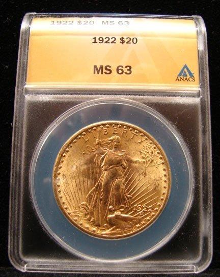 1922 $20 St Gaudens