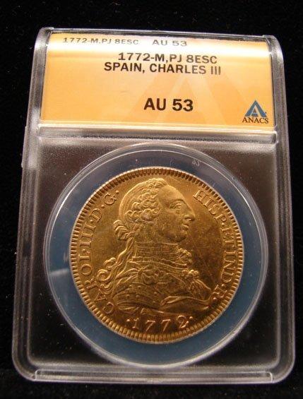 1772 Madrid, PJ, 8 Escudos Gold